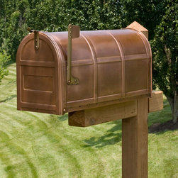 Bartlett Post Mount Copper Mailbox - The integrated bands of this copper post mount mailbox give it a subtle decorative touch. The large holding area in both the standard and oversized models leaves ample room for small package deliveries.