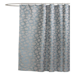 Lush Decor - Orbit Blue Shower Curtain - Includes 1 Shower curtain. Fabric Content:100% Polyester. Care Instructions: Dry clean. 72 in. W x 72 in. H Your universe will feel safe and beautiful when you shower using our Orbit jacquard design. The many layers of different sized circles gives one a feeling the quiet atmosphere of space or of bubbles rising from the batheither way an invitation to take a few minutes and relax from the stress of your day.