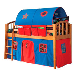 Alaterre Furniture - Mansfield Junior Twin Loft Bed in Honey Finish - Includes 2 bed ends-spindle, 2 side rails, 1 lower support rail, 1 ladder, 1 safety rail post, 2 long rails, Two 3/4 rails, 1 hardware package plus curtains & rods and slat roll. Honey finish with Blue and Red tent fabrics. Made of solid hardwoods and wood veneers - made to meet required safety standards. Assembly required. 1-Year warranty. 42 in. W x 80 in. D x 74 in. H (125 lbs.). Low Loft Assembly Instructions. Bunk Bed Warning. Please read before purchase.. NOTE: ivgStores DOES NOT offer assembly on loft beds or bunk beds.The Mansfield Low Loft from Alaterre features the classic spindle bed design. It comes in 3 finishes, Natural or Honey with Blue and Red tent fabrics and White with Pink Tent Fabrics. This practical loft system creates an environment where children can Play, Explore, Sleep and Dream. Our products are made with children's safety in mind and meet the established requirements.