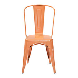 "Crosley - Amelia Metal Cafe Chair-Orange (set of 2) - Dimensions: 17"" W x 20-1/2"" D x 34"" H"