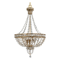 Progress Lighting - Progress Lighting P3634-63 Palais 3-Light Chandelier in Imperial Gold - 3-light pendant with opulent cut glass, graduated octagon jeweled chain and decorative leaf highlights