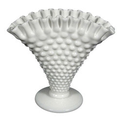 Antiques - Vintage English White Pressed Milk Hobnail Vase - This is a beautiful vintage English  pressed milk white glass flower vase. It features a distinguished shape and it has a very attractive milk white color.  Its surface is beautifully adorned with pressed glass designs and its rim has lovely shaped forms to hold the stems of the flowers. It has a traditional round base and it is in very good condition.This piece may show minor age appropriate signs of wear but as shown it is overall in very good cosmetic condition.