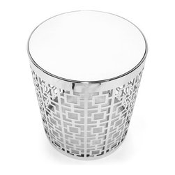 """Jonathan Adler - Nixon Side Table - Pardon our arrogance, but we firmly believe that these tables are a New Classic. The round base is made from perforated metal in our Nixon pattern, a nod to mid-century design, and an eye on the future. Fresh but familiar. The coffee table is warm and functional but with a bit of twinkly elan. Features: -Nixon Collection. -Material: available in polished nickel with a white stained ash top, brushed brass with a walnut top or brushed brass with a marble top. -Handmade construction. -Overall dimensions: 25.8"""" H x 42"""" W x 42"""" D."""