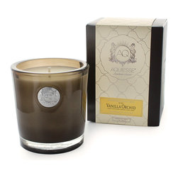 Aquiesse Vanilla Orchid Soy Candle - Exotically aromatic with notes of sugary vanilla and dreamy orchid, this scent reminds one of the beautiful island of Hawaii, tropical and gorgeously relaxing. A lovely touch in a master bath, perfect for bringing a touch of island life into your home. Aquiesse uses a proprietary soy wax blend and lead free wicks to bring you long lasting and clean burning candles with the perfect fusion of scent notes.