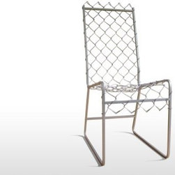 Café America from Grain - This chair is definitely an original. The back and the seat are chain link attached to a steel base. What a clever use of old fencing. A couple of these would look great with a bistro table.