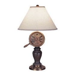 Mario Industries - Decorative Lamp: Captains Telegraph 32 in. Table Lamp 96T306 - Shop for Lighting & Fans at The Home Depot. The Mario Industries Captains Telegraph 32 in. Table Lamp features a beautiful nautical motif with a moveable telegraph face and brown, wood-like body. Sits atop a round aged gold base. It features a 6 ft. cord and 3-way switch which allows you to control the level of brightness. Textured cream linen shade and matching ball finial complete the look