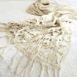 Crochet Knit Trim Throw - Cozy up with some crochet for a look that is both warm and pretty.