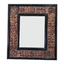 Fancydecor - Decorative French Mirror Frame Solid Carved Wood, Black Marble Copper - SOLID Frame Mirror carver