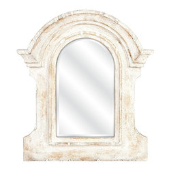"""Lamps Plus - Traditional Beautris 32"""" x 36"""" Distressed White Wall Mirror - White wall mirror. Polypropylene construction. Distressed finish. 32"""" wide. 36"""" high. 3"""" deep.          White wall mirror.  Polypropylene construction.  Distressed finish.  32"""" wide.  36"""" high.  3"""" deep."""