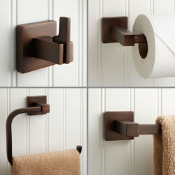 Ultra 4 Piece Bathroom Accessory Set - Choose the 4-Piece Ultra Bathroom Accessory Set for the perfect accompaniment to your modern bathroom. This set includes a robe hook, towel bar, towel ring and toilet paper holder, each made of durable brass.