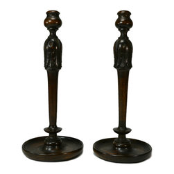 Lavish Shoestring - Consigned 2 Tall Carved Oak Slender C&lesticks, English Victorian, 19th Century - This is a vintage one-of-a-kind item.