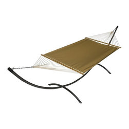 Phat Tommy - Sunbrella Hammock in Brass - The Phat Tommy Sunbrella Dupione Hammock is part of Outdoor Oasis Line and is our most durable and beautiful outdoor hammock. For your outdoor room or by the pool, Phat Tommy Sunbrella products give you the sophisticated style you want with the protection you need. Sunbrella's tough, long-lasting fabrics handle the worst Mother Nature can give, year after year. From the baking sun to endless rain, Phat Tommy Outdoor Oasis products look great in any season.