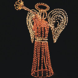 Frontgate - Outdoor Lighted Angel - Christmas Lights - Outdoor holiday display is illuminated by fade- and damage-resistant 3,000-hour bulbs. Lights are protected by polymer domes to ensure long bulb life. Bulbs are attached to durable powdercoated steel frames with cuff clamps. 110V. Our elegant Outdoor Lighted Angel adorns front lawns with brilliant 3D illumination. Majestic and bright, this commercial-grade, grandly scaled pre-lighted angel is crafted to last through any wintry weather the season may bring.. . . . Easy 15-minute assembly.