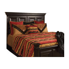 Sundance Coverlet Set, King - An intense mixture of Burnt Red, Black and Gold brings life to this western Chenille patter with Silhouettes of tress and Elk. Complimented by solid Red and Black pillows and accessories by Black leather fringe.