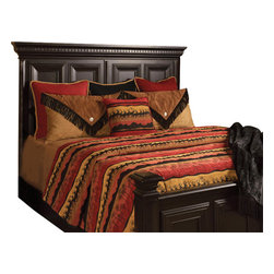 Sundance Coverlet Set, Ultra King - An intense mixture of Burnt Red, Black and Gold brings life to this western Chenille patter with Silhouettes of tress and Elk. Complimented by solid Red and Black pillows and accessories by Black leather fringe.