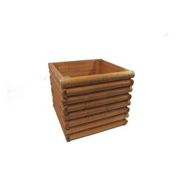 "Master Garden Products - Square Log Cabin Planter, 22"" - This overlap log cabin style planter provides a frontier rustic look. It is easy to set up with just a few bolts and nuts. Constructed with naturally rot resistant split cedar log wood, they will last many years in your garden."