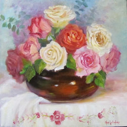 Oil Paintings by Cheri Wollenberg - Still Life of Mixed Roses in Brown Vase - Original Oil Painting - This painting features red,peach,yellow, pink and white roses in a brown bowl that is placed on a antique, vintage embroidered white tablecloth. It makes a great shabby chic decor piece for your wall.