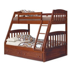 "Logan Chocolate Mission Twin over Full Bunk Bed - A children's bunk bed can please more than just the kids. With two built-in bed sizes a space-saving design and optional storage options the Logan Chocolate Mission Twin over Full Bunk Bed can surpass Mom and Dad's standards too. Crafted with super-stable solid hardwood this twin-over-full bunk bed features Mission-inspired slatted headboards and footboards topped with solid arched panels. A rich rustic chocolate brown finish works well in boys and girls rooms alike and an attached slanted ladder offers a secure path from the floor to the top bunk. Built-in safety rails at the top ensure little ones sleep safely. Consider adding under-bed storage drawers to save even more space in the bedroom. Two roomy side-by-side drawers slip under the bottom bunk to catch spare sheets and blankets games and books and clothing. Each drawer is outfitted with dual wood knobs for smooth easy operation. Choose the bunk bed only; the bunk bed; the bunk bed and storage drawers; or the bunk bed and two storage drawers. We take your family's safety seriously. That's why all of our bunk beds come with a bunkie board slat pack or metal grid support system. These provide complete mattress support and secure the mattress within the bunk bed frame. Please note: Bunk beds and loft beds are only to be used by children 6 years of age or older. About Woodcrest ManufacturingIn business for nearly 20 years Woodcrest Manufacturing has grown beyond its simple origins in Peru Indiana to become a leader in global furniture industry partnerships. They specialize in """"stairway bunk bed"""" designs and all their products are tested by independent laboratories to ensure top safety in your child's bedroom."