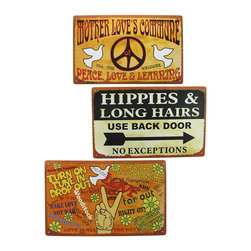 Zeckos - Set of 3 Peace, Love, Hippie Themed Metal Signs 10 In. x 16 In. - This set of signs is inspired by the Summer of Love, and adds a fun, retro look to your home. The signs feature images of peace signs, doves, and a bubbly font. Each one is made of metal, and measures 10 inches tall, 16 inches wide. They have pre-drilled holes in each corner, so they are easy to mount to any wall. This set is a great decoration for 60's parties, and is sure to be admired.