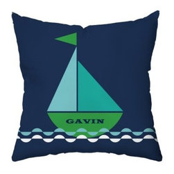 Smooth Sailing Personalized Throw Pillow - Add personality to his ocean themed room with this Smooth Sailing Personalized Throw Pillow. This pillow makes a great gift idea as it's filled with bold color and has a sailing boat personalized with his name. The cover is made of soft polyester, the cotton and polyester fill is plush, and the coordinating design and monogram on the reverse make this pillow perfect.