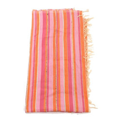 Pink Striped Moroccan Throw - Add color to a tabletop, bed or sofa with this striped, pink and orange Moroccan throw.