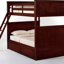 NE Kids - Schoolhouse Casey Full over Full Bunk Bed - Cherry - FUB382 - Shop for Bunk Beds from Hayneedle.com! The Schoolhouse Casey Full over Full Bunk Bed - Cherry is an attractive and trustworthy choice for your growing children's needs. This piece is expertly constructed from solid hardwood and finished in sumptuous dark cherry bringing subtle elegance and peerless strength into perfect harmony. This bed is uniquely customizable: you may choose between and open or closed footboard - whichever suits your tastes - and optional are a trundle bed a privacy panel and storage drawers. The ladder and guardrail while providing maximum safety for the top bunk may also be placed on either side so set this bed wherever you like and adjust accordingly. All your children's needs are covered. This bed measures 81L x 57.25W x 70.75H inches. We take your family's safety seriously. That's why all of our bunk beds come with a bunkie board slat pack or metal grid support system. These provide complete mattress support and secure the mattress within the bunk bed frame. Please note: CPSC recommends the tops of the guardrails must be no less than 5 inches above the top of the mattress and that top bunks not be used for children under 6 years of age. About New Energy KidsNE Kids is a company with a mission: to create and import truly unique furniture for your child. For over thirty years they've been accomplishing this mission with flying colors one room at a time. Not only will these products look fabulous they will provide perfect safety for your children by adhering to the highest standards set by the American Society for Testing and Material and the Consumer Products Safety Commission. Your kids are in the best of hands and everyone will appreciate these high-quality one-of-a-kind pieces for years to come.