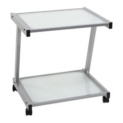 Eurø Style - L Printer Cart in Aluminum Finish - Keep your office equipment close at hand with this L Printer Cart in Aluminum Finish by Eurø Style. A durable powder epoxy coated steel frame supports tempered glass shelves.