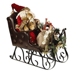 Home Decorators Collection - Santa in Sleigh - Your holiday table decorations will be a lot merrier with our Santa in Sleigh figure. Hands on the reins, a teddy bear nestled in one arm and a pile of presents at his feet, Jolly Old St. Nick is ready to bring joy to children across the world. Santa doll and toys in sleigh with metal runners. Faux greenery embellishments.