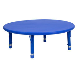 Flash Furniture - Flash Furniture 45 Inch Round Height Adjustable Blue Plastic Activity Table - Kids activity tables are excellent for early childhood development. The primary colors make learning and play time exciting when several colors are arranged in the classroom. This durable table features a plastic top with steel welding underneath along with adjustable steel legs that is sure to last throughout the years. [YU-YCX-005-2-ROUND-TBL-BLUE-GG]