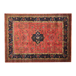 """Oriental Rug Galaxy - 9'9"""" x 13'3"""" New Zealand Wool Red Sarouk 300 kpsi Hand Knotted Oriental Rug - Our fine Oriental hand knotted rug collection consists of 100% genuine, hand-knotted and hand-woven rugs from Persia, China, and other areas throughout Asia. Classic, traditional, and offered in a wide range of elaborate designs, every handmade rug is guaranteed to serve as a beautiful and striking element in any interior setting."""