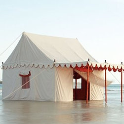 The Maharaja Tent Company - Altair Tent - Assembly requiredDoes not include wood flooring or flagsIncludes bamboo poles, pole covers, iron stakes, wooden finials, instructionsWaterproof cotton canvas10.5'H, 12'W, 18'DImported