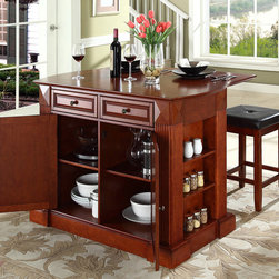 Crosley Furniture Breakfast Bar Top Kitchen Island With
