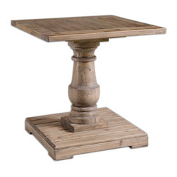 Uttermost - Stratford Pedestal End Table - Solidly Constructed Of Salvaged Fir Lumber And Hand Turned Baluster. Sun Faded, Distressed Patina Is Finished With A Stony Gray Wash. Bulbs Included: No