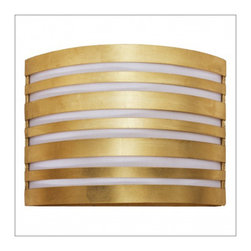 World Away Troy Striped Wall Sconce, Gold - Striped sconce with white inner shade