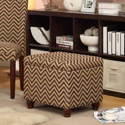 Kinfine - Chocolate/Tan Chevron Medium Storage Bench - Add multi-functional style to your home with this chocolate/tan chevron storage ottoman. This statement piece comes in fun fashion patterns and can be used to store magazines, throws, toys, accessories or anything else that is taking up too much space.