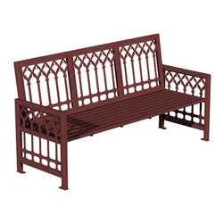 Paris Equipment - Paris Equipment Gothica Steel Commercial Park Bench - 71167000-TEAL - Shop for Benches from Hayneedle.com! If you're looking for a gracefully styled traditional park bench the Gothica Park Bench might be just the ticket! This all-metal park bench features straight back and arm rests and a beautiful laser-cut design on the back and side panels. The seating is wide and deep allowing for comfortable seating for multiple users. The durable build is sure to last through years of the toughest weather Mother Nature has to offer. This bench is available in a dozen colors and three sizes/styles to suit your needs.