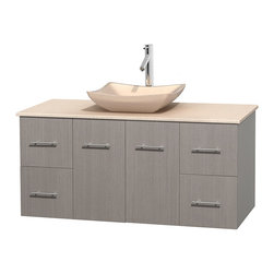 """Wyndham Collection - Centra 48"""" Grey Oak Single Vanity, Ivory Marble Top, Avalon Ivory Marble Sink - Simplicity and elegance combine in the perfect lines of the Centra vanity by the Wyndham Collection. If cutting-edge contemporary design is your style then the Centra vanity is for you - modern, chic and built to last a lifetime. Available with green glass, pure white man-made stone, ivory marble or white carrera marble counters, with stunning vessel or undermount sink(s) and matching mirror(s). Featuring soft close door hinges, drawer glides, and meticulously finished with brushed chrome hardware. The attention to detail on this beautiful vanity is second to none."""