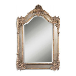 Uttermost - Alvita Antiqued Gold Leaf Arched Mirror - This shaped, beveled mirror is accented by antiqued side mirrors and an antiqued gold leaf frame with a dark gray glaze. Mirror has a generous 1 1/4 inch bevel.