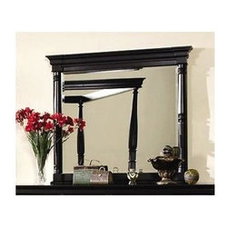 Yuan Tai - St. Regis Beveled Mirror in Black Finish - Rectangular shape. 3 in. frame thickness. Resin carvings. Warranty: Six months limited. Made from solid hardwoods and wood veneers. 44 in. W x 40 in. H (40.1 lbs.)