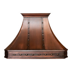 World CopperSmith™ - World CopperSmith Classic Range Hood - The classic range hood can be characterized by a balance of light and dark patinas, contrasted with the texture of iron straps and rivets. This hood is an excellent choice for those looking to add a rustic element to the kitchen, and celebrate a more traditional style of copper work. This hand made range hood is brushed and sealed for a maintenance free finish. No risk, money back guarantee, free shipping.