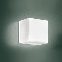 """ITRE - Cubi wall or ceiling light - Product Details:   The Cubi wall or ceiling lightfrom ITRE has been designed by Ufficio Stile/Trein 2000. This wall or ceilingmounted luminaire is great for halogenlighting. The Cubi is composed of a white satin finished diffuser made of layered and blown glass. The structure of this light is constructed of grey polycarbonate.The Cubi wall or ceiling lightexhibits an ornateand detaileddesign, along with quality craftsmanship, that is sure to brilliantlybrightenany contemporary atmosphere.  Details:                                              Manufacturer:                                           ITRE                                                              Designer:                                          Ufficio Stile/Tre                                                              Made in:                                          Italy                                                              Dimensions:                                           Small: Height:4 3/8"""" (11cm)Width: 4 3/8""""(11 cm)                           Medium: Height:6 1/8"""" (15.5cm)Width: 6.25""""(16 cm)                           Large:Height:11"""" (28cm)Width:11""""(28 cm)                                                                                                                                                                                                         Light bulb:                                           Small: 1 X 40W halogen                           Medium: 1 X 60W halogen                           Large:4 X 60W incandescent                                                                                                                                                                                                                       Material:                                           Glass, Polycarbonate"""