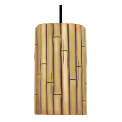 A19 - Bamboo Pendant - Whether you want to inspire the exotic, island fun of a Tiki bar or the cool serenity of a spa, this bamboo-inspired ceramic light fixture will set the right tone for your d_cor. The natural finish has variations brown, gold and green tones and because it's gently applied by hand, no two will be identical. The opaque ceramic shade blocks glare while providing generous down-lighting.