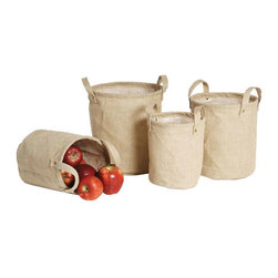 Burlap Storage Bags - There are so many ways to use these rustic burlap bags! Sturdy and lined, they're useful for storage in the bathroom, car, or for baby; for blankets by the couch; or for yarn or craft supplies for DIY types. Talk about versatility!