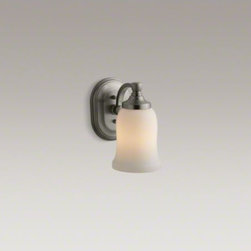 KOHLER - KOHLER Bancroft(R) single wall sconce - Bancroft accessories capture the elegance of early 1900s American design with their traditional and enduring style. This single sconce lends a classic touch to the bath or powder room, and can be positioned up or down for a variety of lighting options. Av