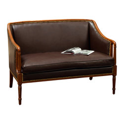 Great Deal Furniture - Hairston Brown Leather Wood Frame Loveseat - The Hairston Wood Frame Loveseat is a great addition to any living room in your home. This piece is inspired by British Colonial design, creating a classical appearance for the contemporary home. The Hairston Wood Frame Loveseat demonstrates attention to detail with its padded seat, studded accent and decoratively carved wood frame. This piece will enhance any space it is placed in.
