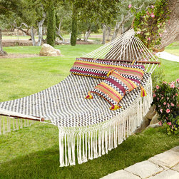 MacKenzie-Childs Courtly Check Hammock - Hammocks are the best way to relax this summer, as they provide the perfect place to lie down and read a good book. If you have the ideal place to hang one up, don't wait — this is how you should be spending your time off at home!