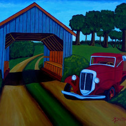 """""""Country Roads"""" Artwork - This painting depicts a typical country scene of a covered bridge and a farm truck . the painting has been done in acrylics on archival quality canvas paper. it is 40x50 centimeters or 16x20 inches. to protect the surface from dust and sunlight it has been given a coat of clear varnish."""