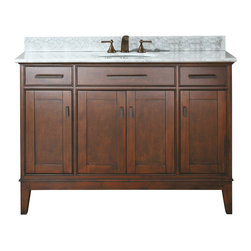 Avanity - Avanity Madison 48 in. Vanity Combo - Avanity Madison 48 in. Vanity with Carrera White Marble Top and Sink in Light Espresso finish