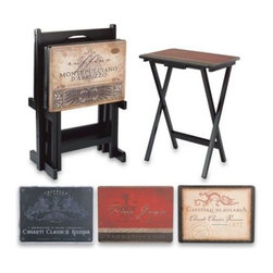 Evergreen Enterprises, Inc. - Tuscan 5-Piece Snack Table Set - The tops of these snack trays feature vintage wine labels. The classic designs make this snack table set not only functional but also decorative.