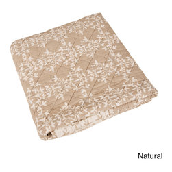 None - Vine Design Quilted Throw - Contemporary yet classic,Saro's vine designed quilted throw adds a touch of class and comfort to your bedroom. Throws reverse to the inverse colors.